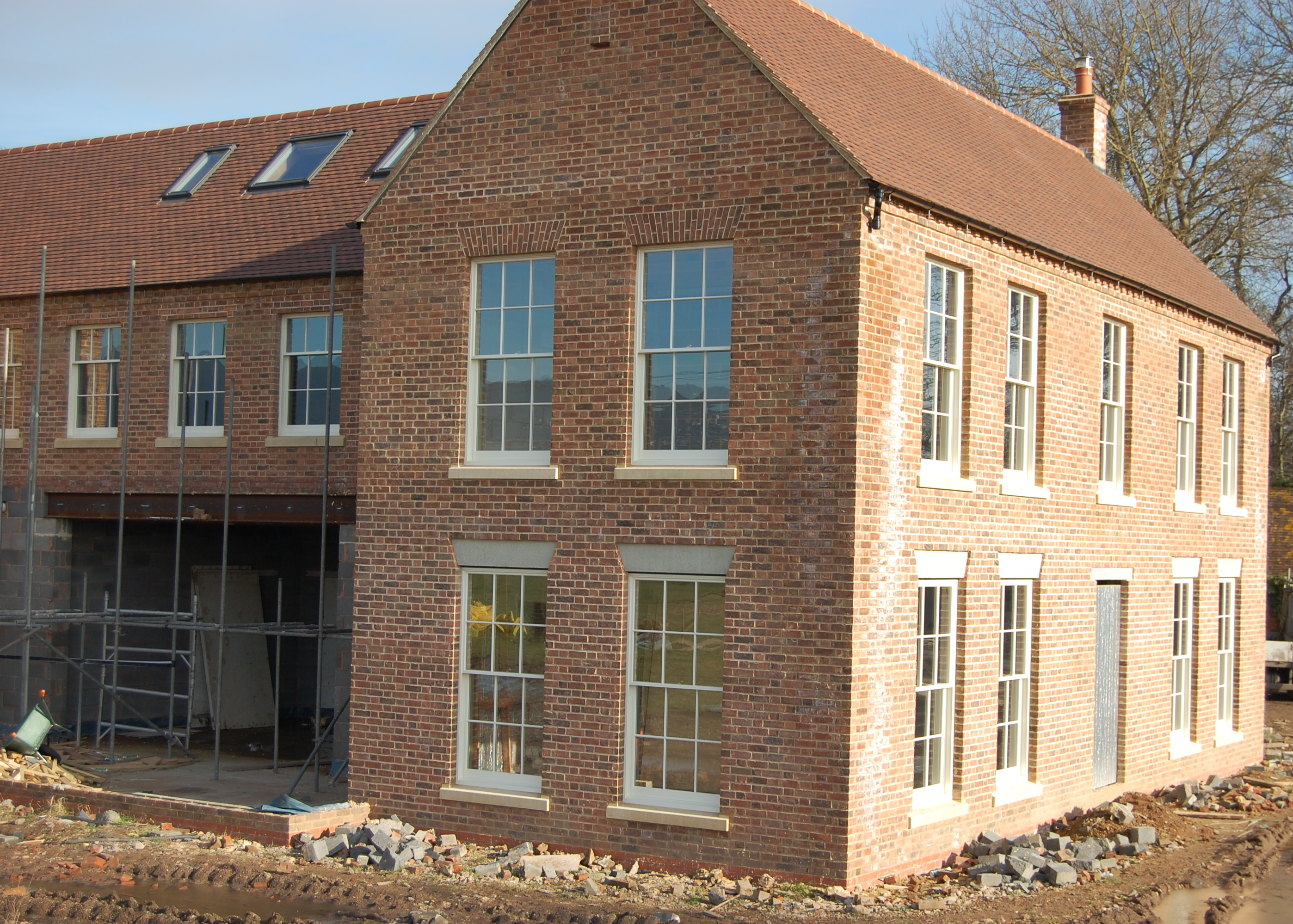 Final Stages Of New Buid Herefordshire Farmhouse Featuring Large Six Over Georgian Style Box Sash Windows Above